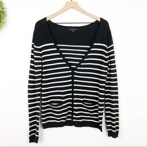 Banana Republic || Black White Striped Cardigan M